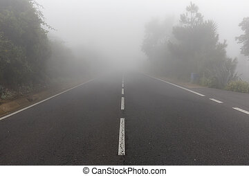high mountain country road with fog - Empty asphalt road in...