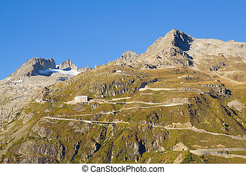 High mountain Furka Pass road in the Swiss Alps