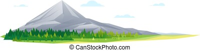 High mountain in forest nature landscape isolated