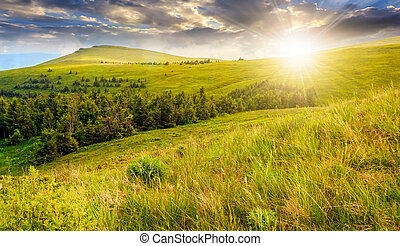 high mountain landscape at sunset - high mountain idyllic...
