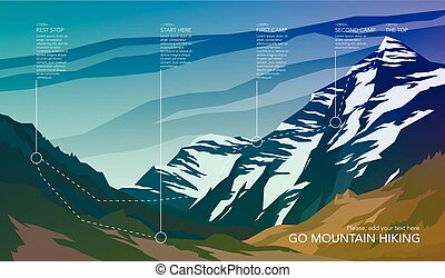 High mountain landscape infographic. Hiking trail in national park.