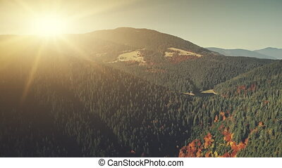 High mountain landscape sunrise sight aerial view - High...