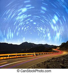 High mountain night view