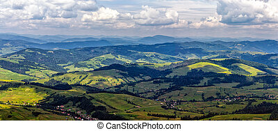 high mountain panorama view - rural panorama view in high...