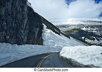 High Mountain Road Thru Glacier National Park. Logan Pass -...