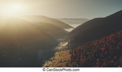 High mountain sunrise foggy gorge aerial view - High...