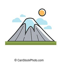 High mountain under sun - Vector illustration of high...