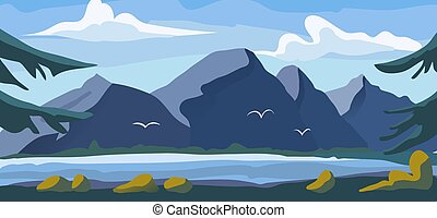 High mountain view landscape, alpine natural garden with ...