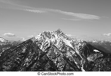 high mountain with snowed on the peak in Northern Italy with...