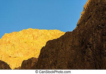 high mountains against the blue sky in Egypt Dahab South Sinai