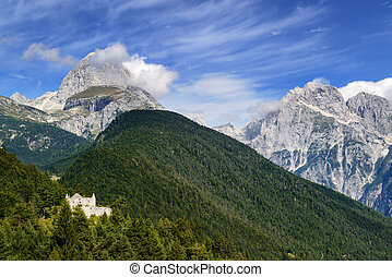 High mountains and ancient fort - Fort Predel in Slovenia on...