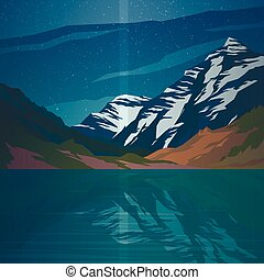 High mountains and calm lake water landscape.