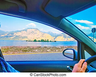 High mountains and road, Lake Garda,Italy, Europe