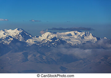 Beautiful snowcapped high mountains panorama