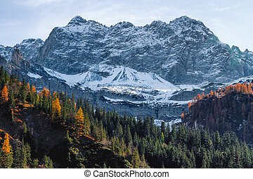 High mountains covered with snow in late autumn season. Alps, Austria, Tyrol.