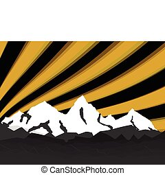 illustration high mountain with rays