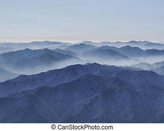 High mountains in clouds. Seoraksan National Park, South Korea