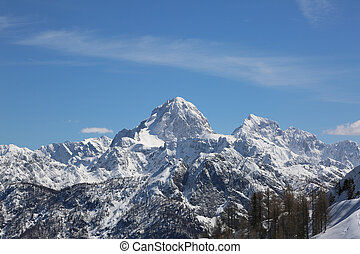 high mountains in winter from Lussari Mount in the Italian...