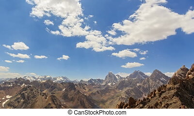 High mountains. Panorama. Time Lapse. Pamir, Tajikistan