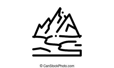 high mountains terrain Icon Animation. black high mountains terrain animated icon on white background