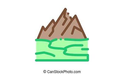 high mountains terrain Icon Animation. color high mountains terrain animated icon on white background