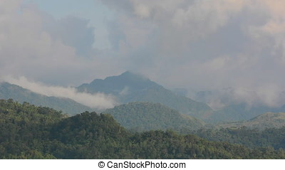 High mountains with jungle on Panay island in the Philippines