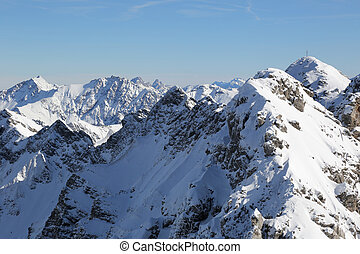 High mountains with snow in winter