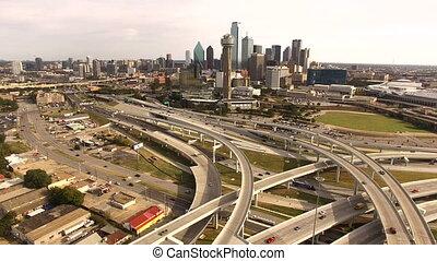 High Over Dallas Highway Rush Hour Traffic Transportation -...