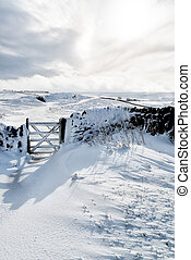 Snow Covered High Peak in the Peak District Derbyshire