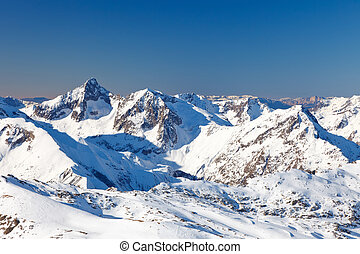 High Peaks of French Alps at sunny day