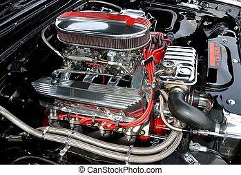 custom car engine at show in georgia usa