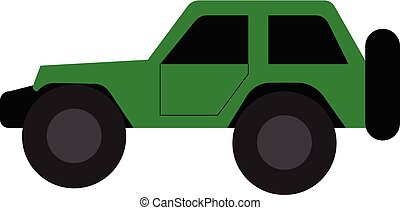 high-performance, color que maneja, coche, off-road, aventuras, ilustración, dibujo, vector, verde, o