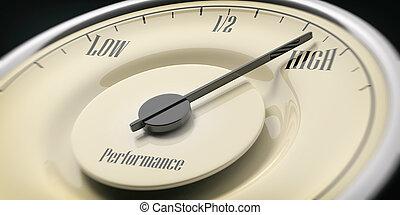 High performance concept. Vintage car gauge closeup detail, black background. 3d illustration