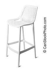 High plastic bar stool isolated on white