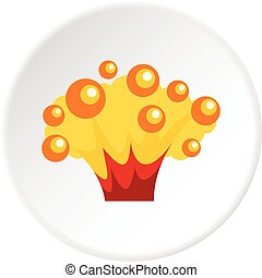 High power explosion icon in flat circle isolated on white background vector illustration for web