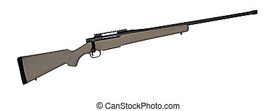 High powered hunting rifle on white