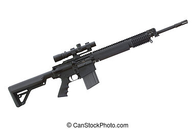 High powered rifle - Heavy AR that has an optic on top and...