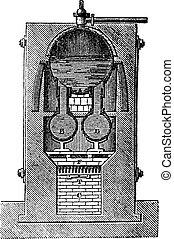 High pressure steam generator, vintage engraving.