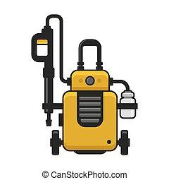 High Pressure Washer. Car Wash Machine. Vector illustration