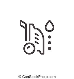 High pressure washer line icon isolated on white. Vector...