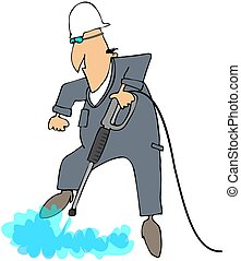 High Pressure Washer - This illustration depicts a worker...