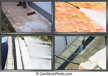 Workflow outside floor cleaning and building cleaning with high pressure water jet. The picture is divided into 4 sections