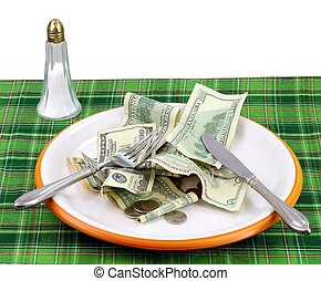 High price of food concept with a plate full of money