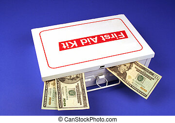 First aid kit on a blue background with three twenty dollar bills sticking out of it