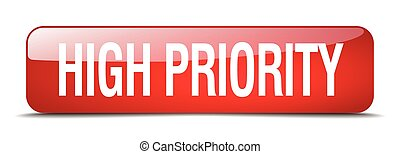 high priority red square 3d realistic isolated web button