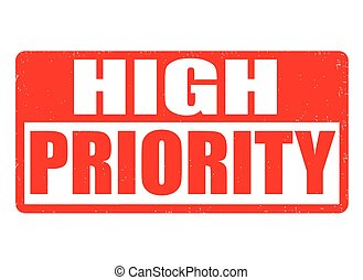 High priority grunge rubber stamp on white background, vector illustration