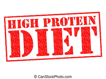 HIGH PROTEIN DIET red Rubber Stamp over a white background.