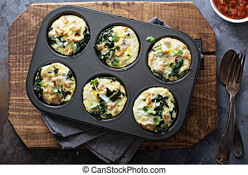 High protein egg muffins with kale and ground turkey in a muffin tin overhead shot