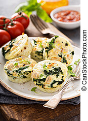 High protein egg muffins with kale and ground turkey