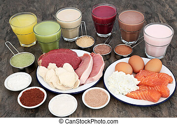 High protein food for body builders of meat, fish and dairy with supplerment powders and health drinks.